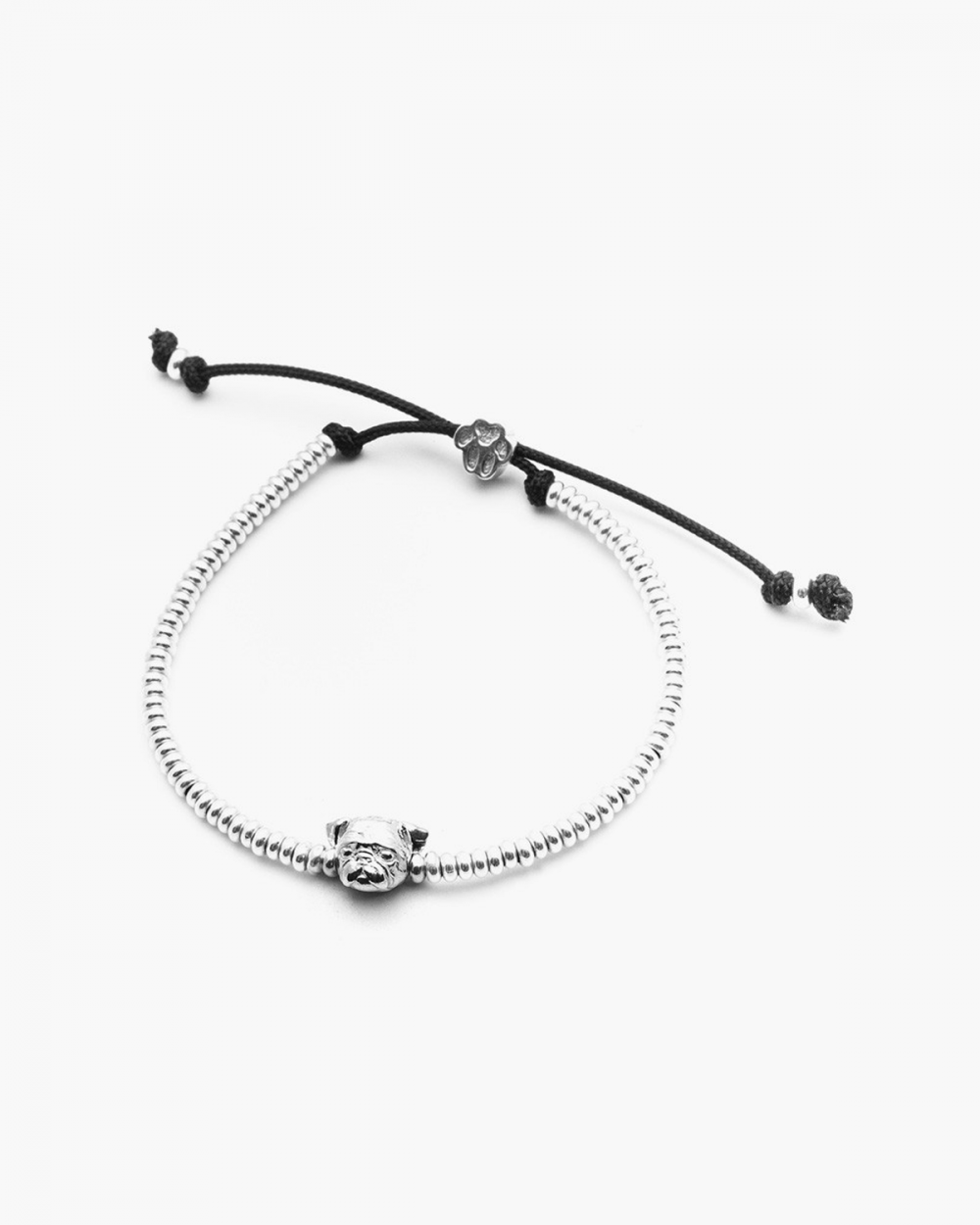 pug snout bracelet polished silver