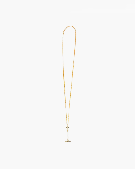 YELLOW GOLD ROLO 300 WITH T-BAR NECKLACE - 60
