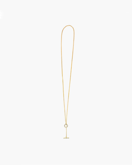 YELLOW GOLD ROLO 300 WITH T-BAR NECKLACE - 70