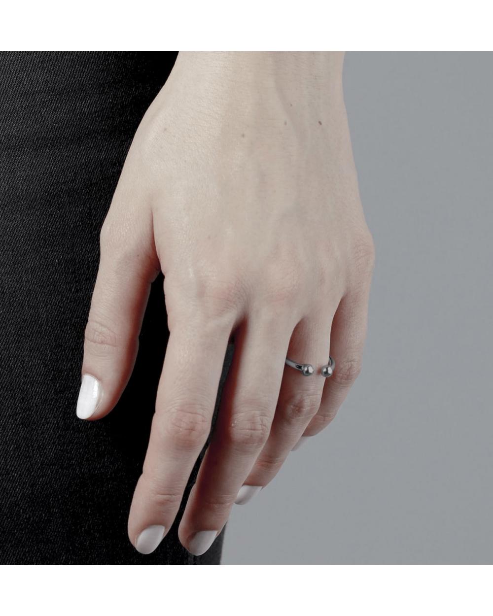 Rings RUTHENIUM SPHERES BIG PIERCING RING NOVE25