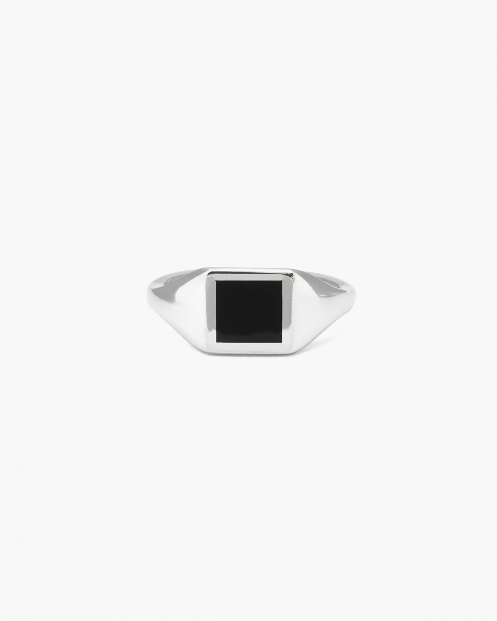 Rings SQUARE BLACK ENAMEL SIGNET PINKY RING NOVE25