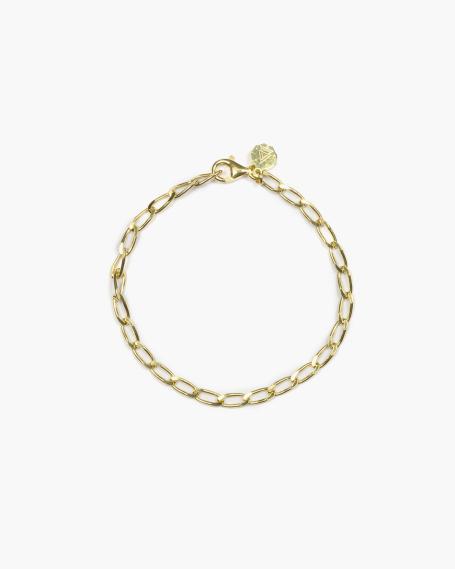YELLOW GOLD LONG CURB CHAIN BRACELET