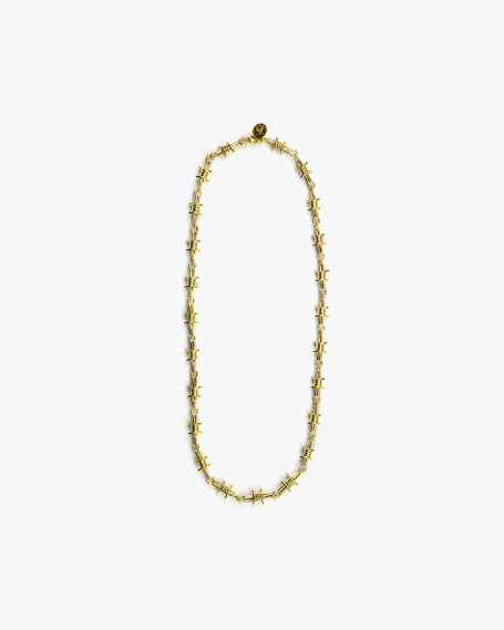 YELLOW GOLD BARBED WIRE NECKLACE