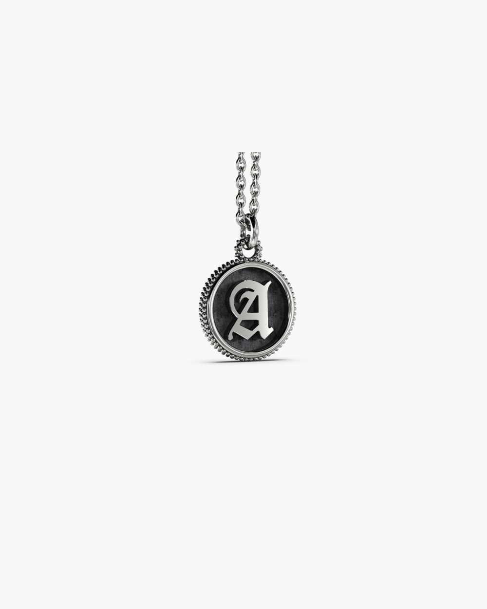 LETTER DOTTED ROUND PENDANT