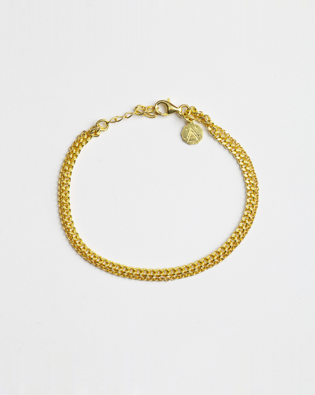 YELLOW GOLD TWO LAYERS CURB & CABLE CHAIN BRACELET