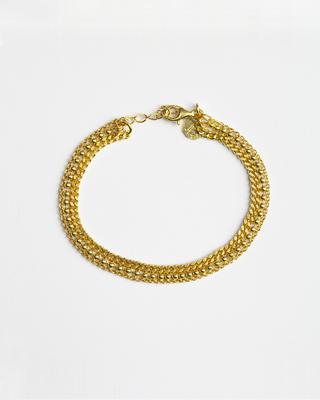 YELLOW GOLD THREE LAYERS CHAIN BRACELET