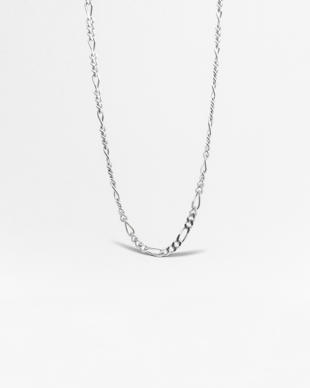 SILVER 3+1 CURB CHAIN NECKLACE