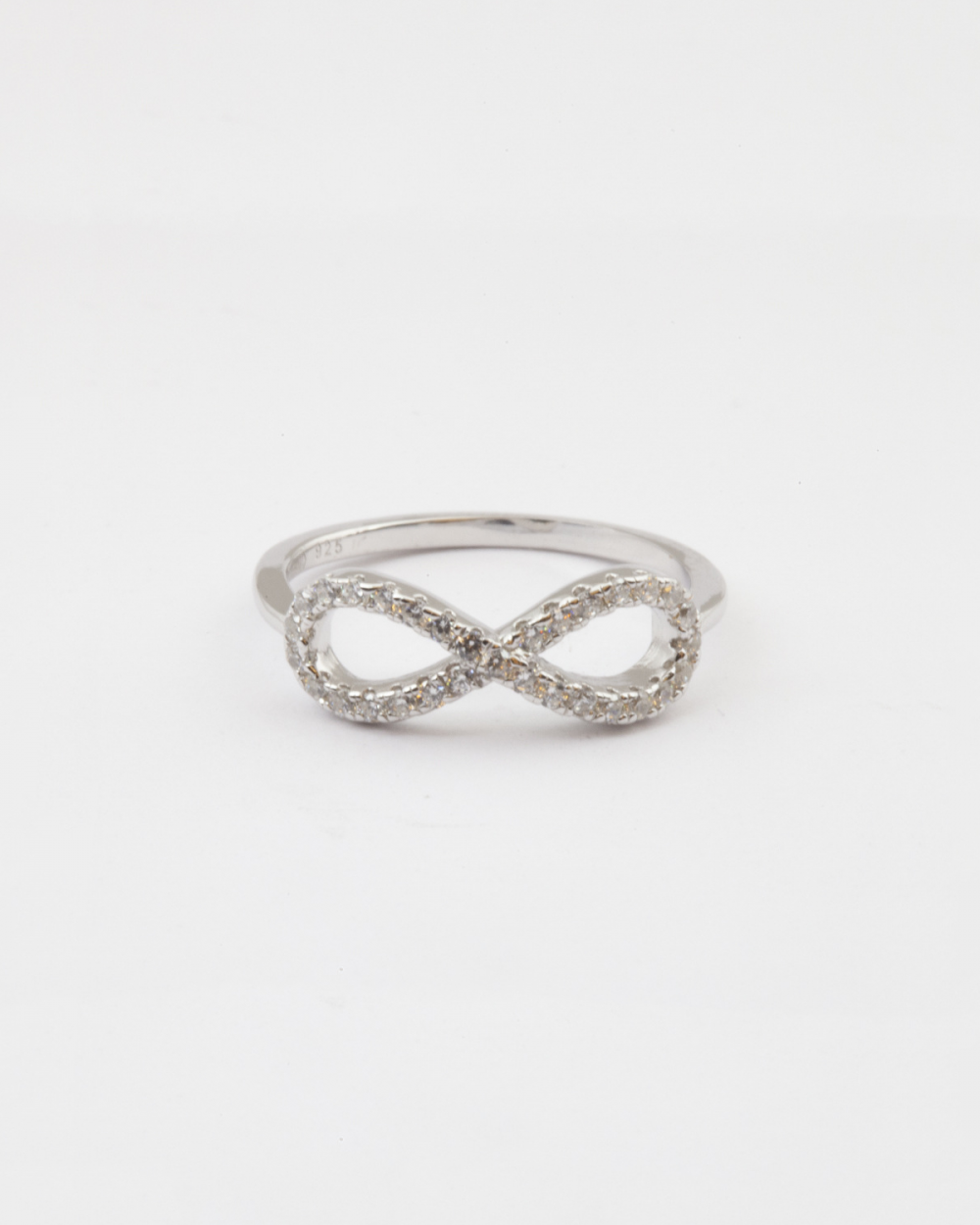 Archive Sale CUBIC ZIRCONIA SMALL INFINITY RING / RHODIUM FINISH NOVE25
