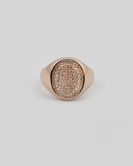 CUBIC ZIRCONIA OVAL SIGNET RING / ROSE GOLD FINISH