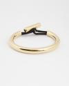 bracciale rigido con cordino interno passante nero galvanica oro giallo lucido