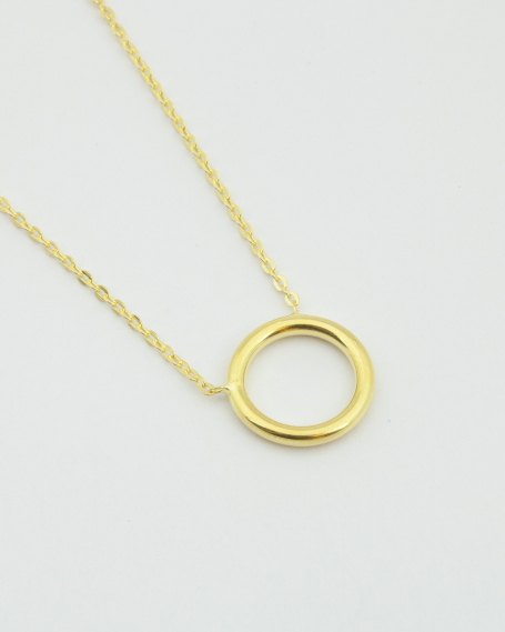 SMALL CIRCLE NECKLACE / YELLOW GOLD FINISH