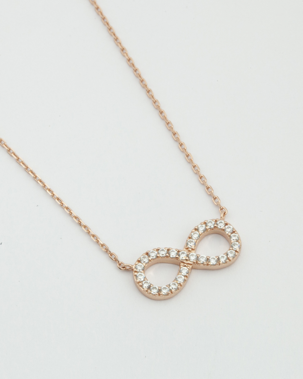 Archive Sale CUBIC ZIRCONIA INFINITY NECKLACE / ROSE GOLD FINISH NOVE25