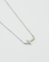cubic zirconia cross necklace white rhodium finish
