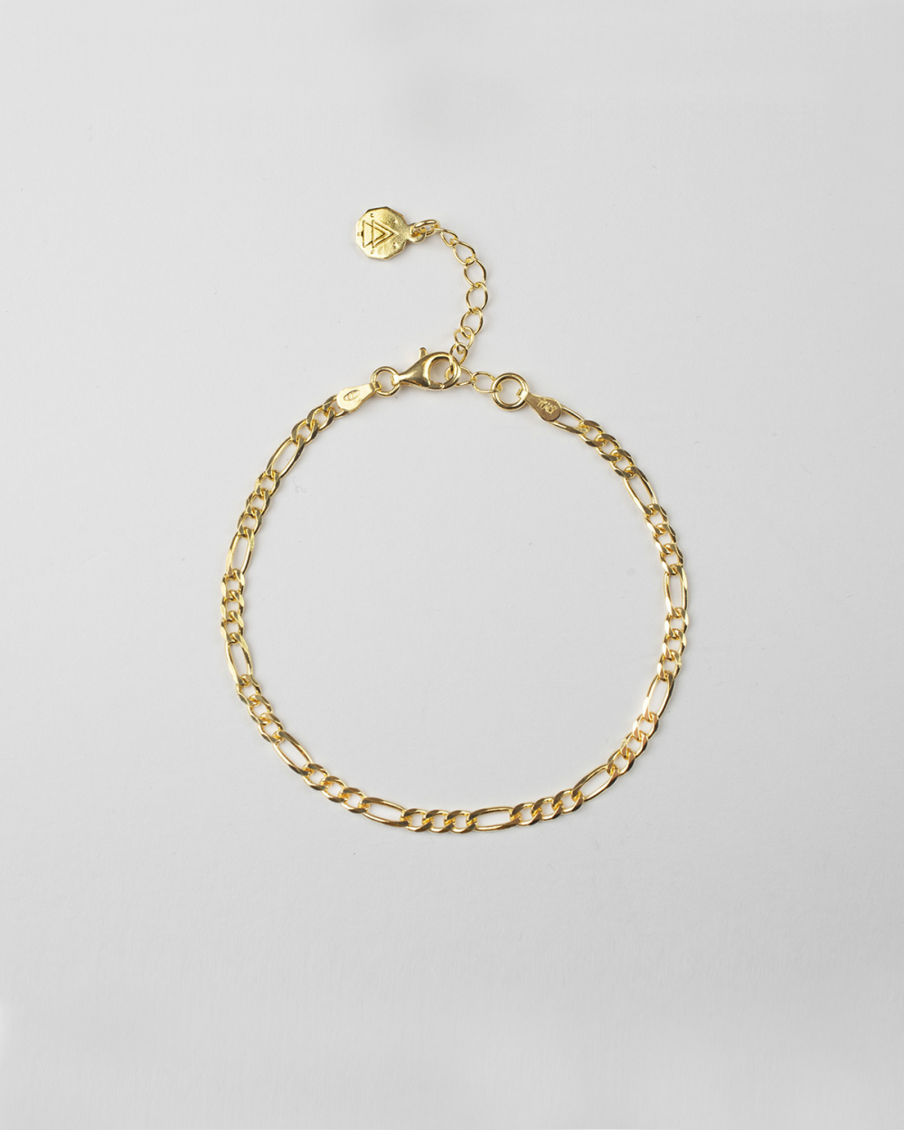 YELLOW GOLD 3+1 CURB CHAIN BRACELET