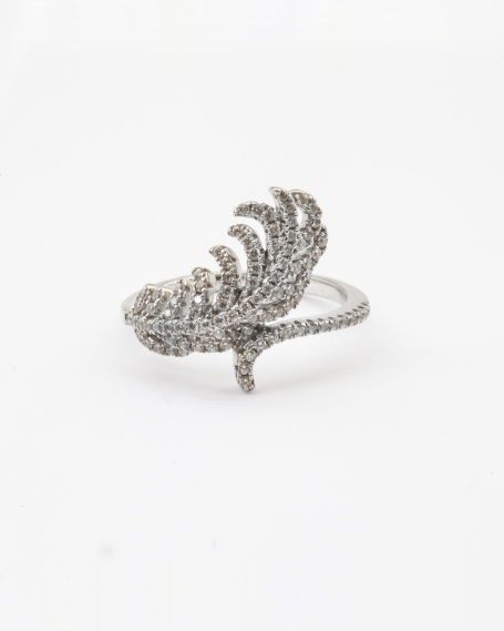 CUBIC ZIRCONIA FEATHER RING / RHODIUM FINISH