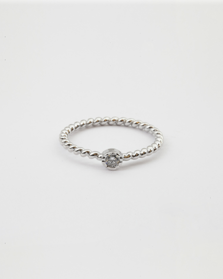 SOLITAIRE BUBBLE FINE RING / RHODIUM FINISH