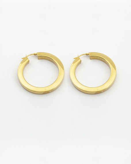 SQUARE TUBE 5 SNAP CLOSURE COUPLE HOOP EARRINGS / YELLOW GOLD FINISH