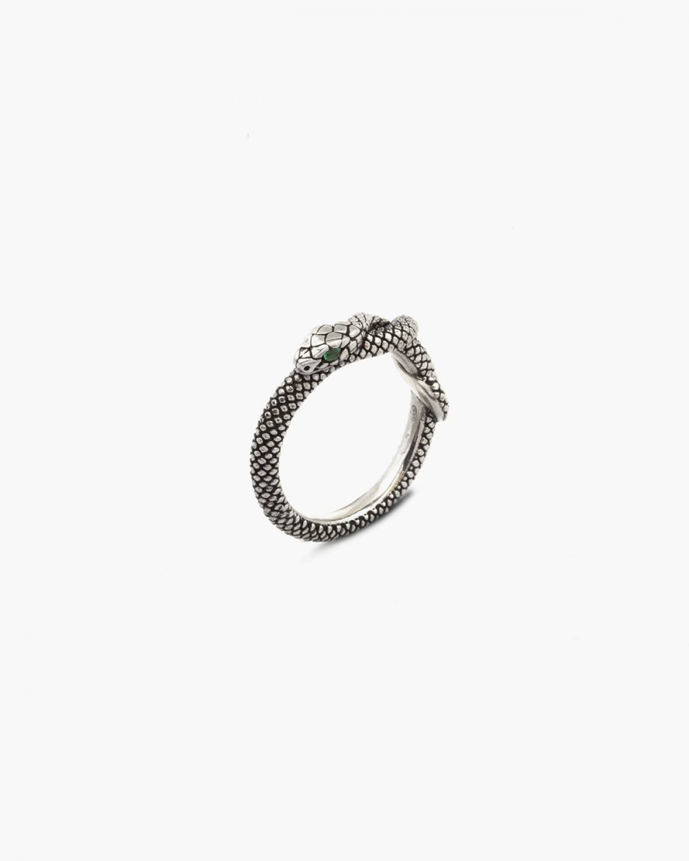 Rings SNAKE FINE RING WITH GREEN CUBIC ZIRCONIA EYES NOVE25