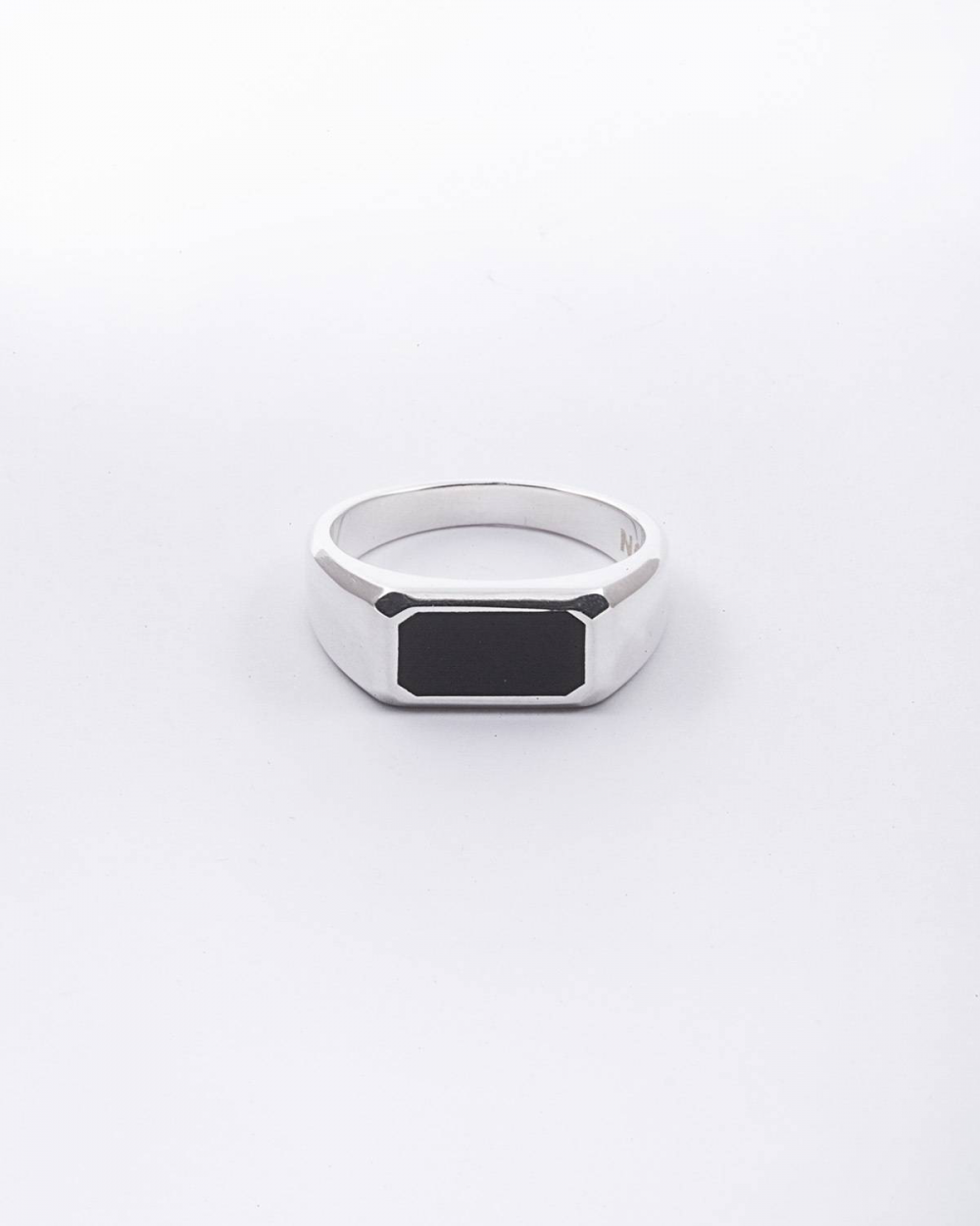 Rings SILVER BLACK AGATE HORIZONTAL RECTANGULAR CHEVALIER NOVE25