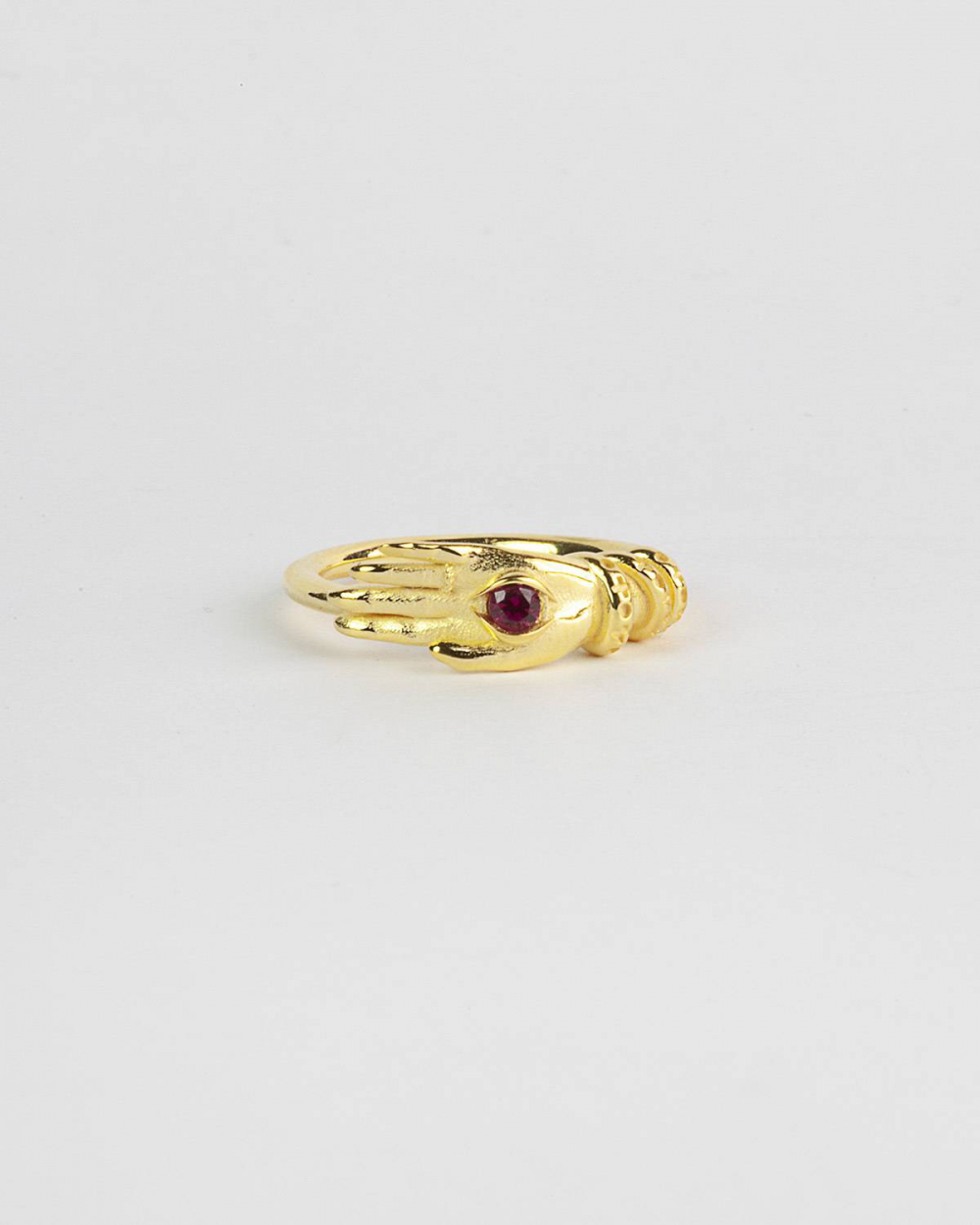 Rings YELLOW GOLD TALISMAN FINE RING WITH RED SPINEL EYE NOVE25