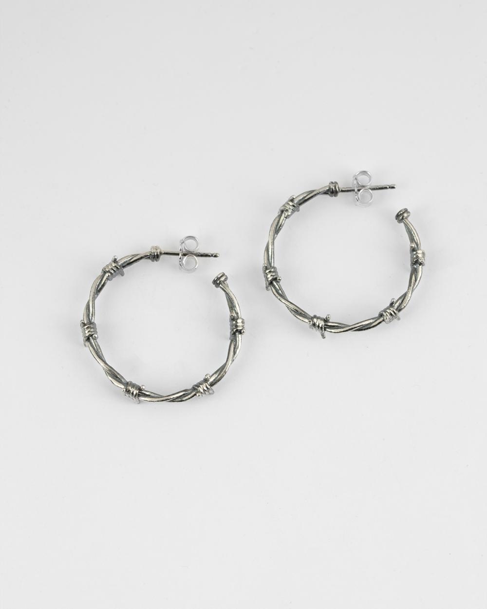 barbed wire pair earrings