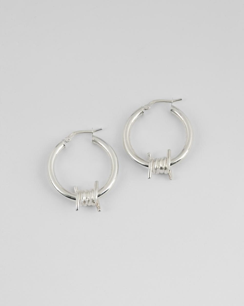 barbed wire hoop pair earrings