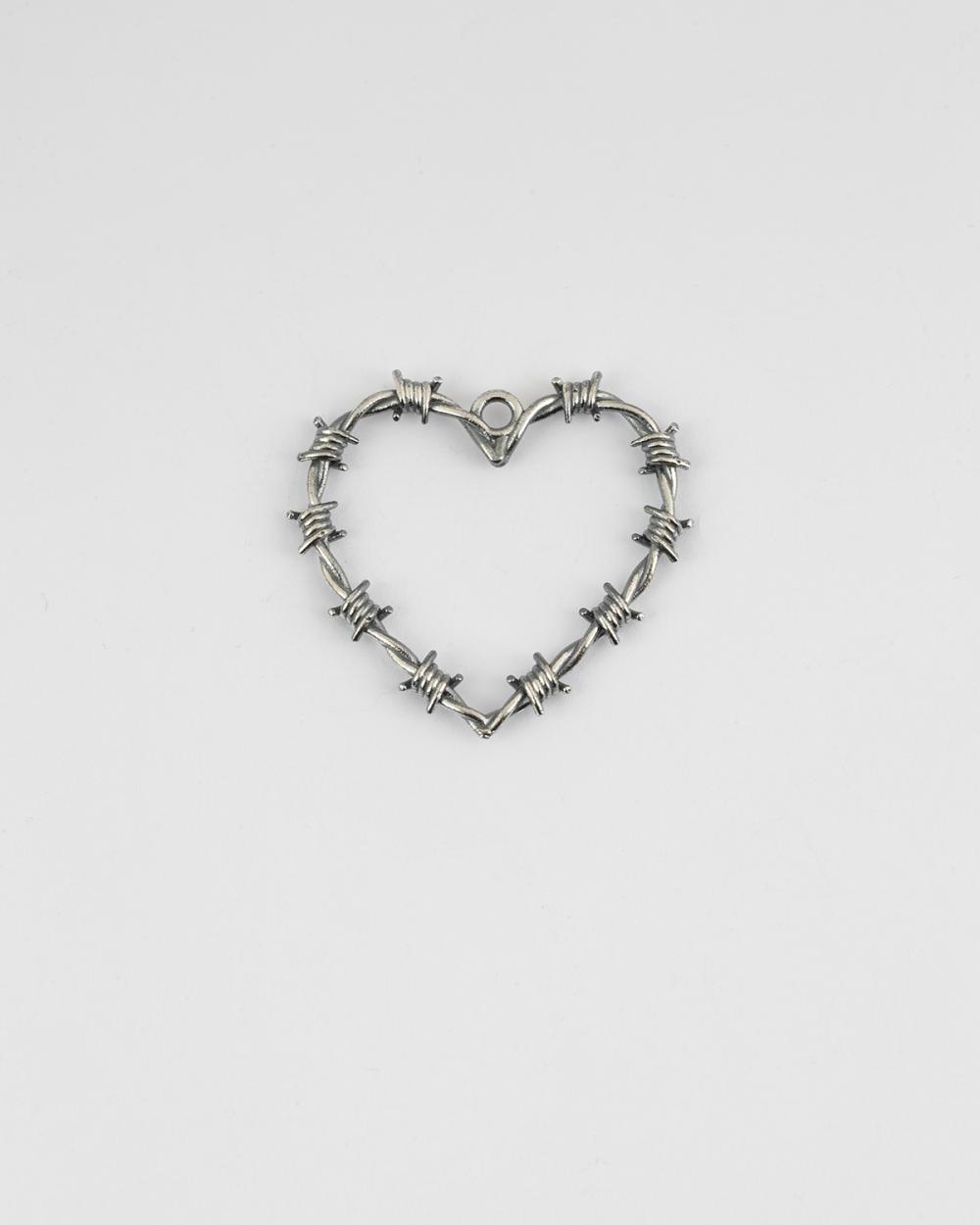 pendente cuore filo spinato