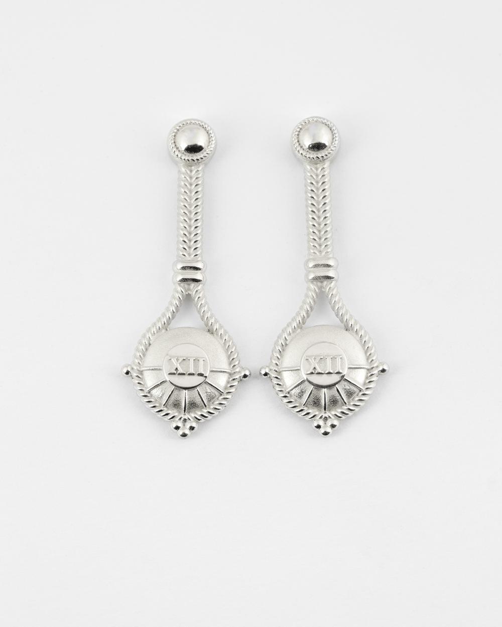 silver the hanged man pair earrings