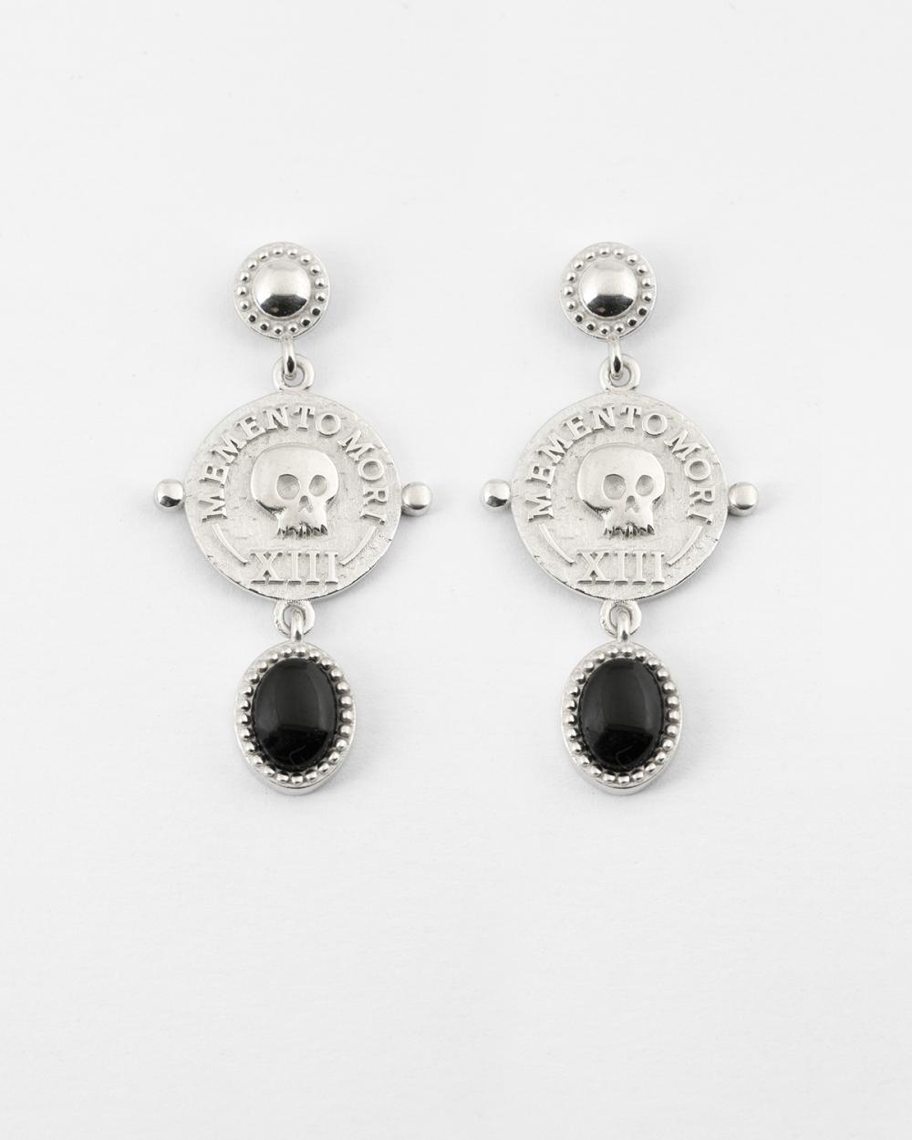 silver memento mori pair earrings
