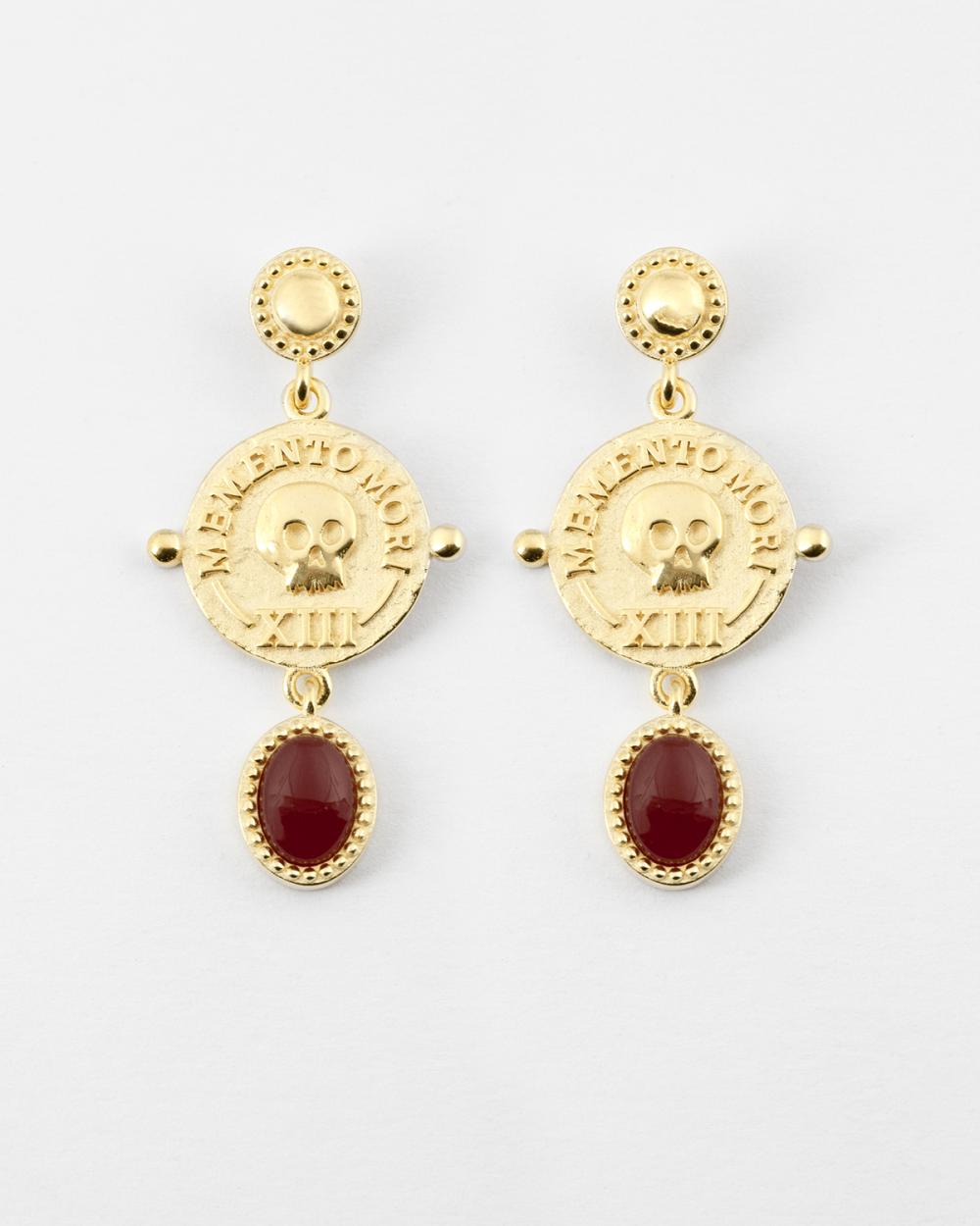 yellow gold memento mori pair earrings