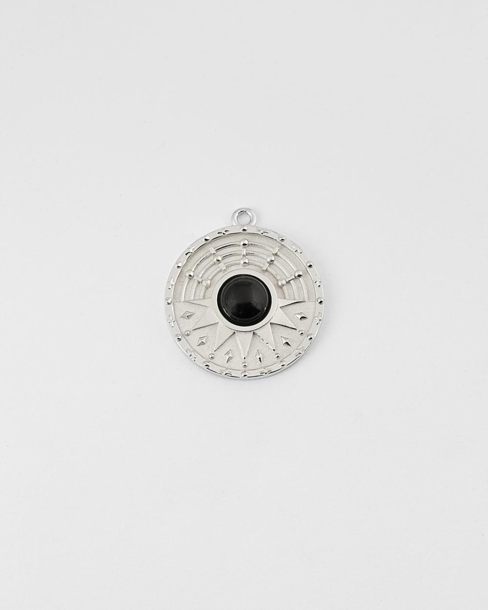 silver the sun onyx pendant