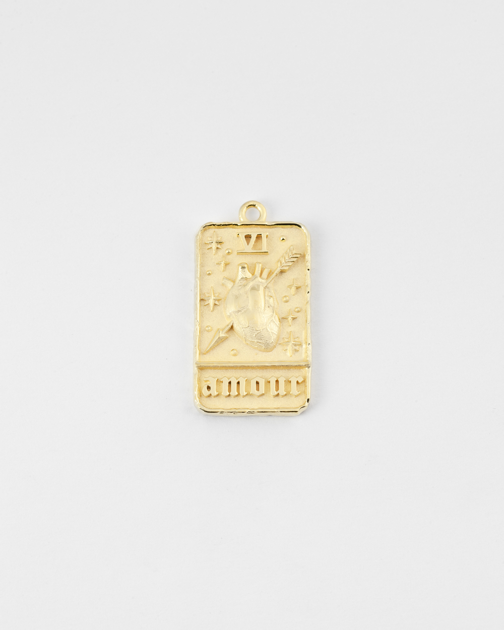 yellow gold the lovers card pendant