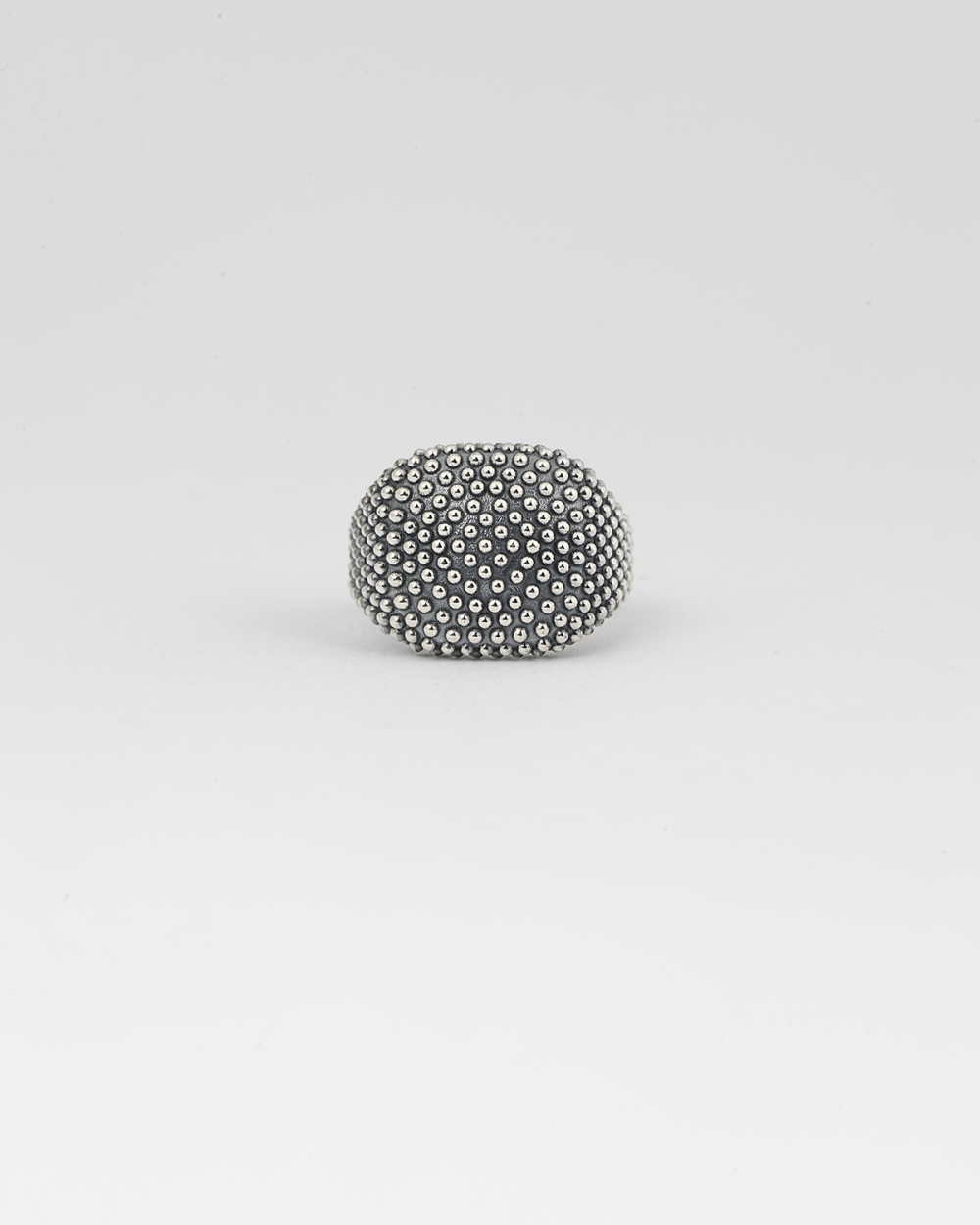 dotted square signet pinky ring