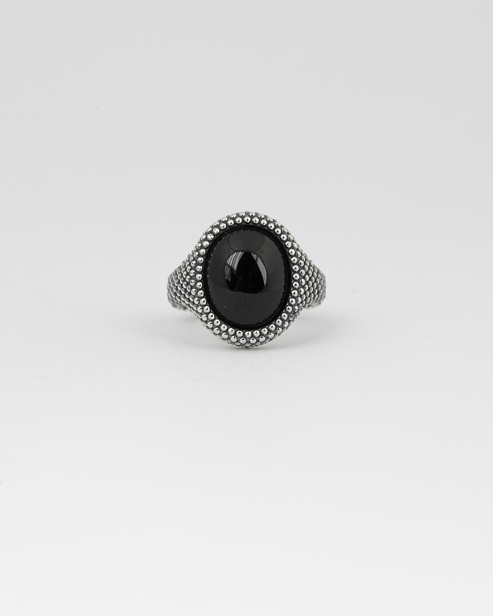 dotted oval onyx signet ring