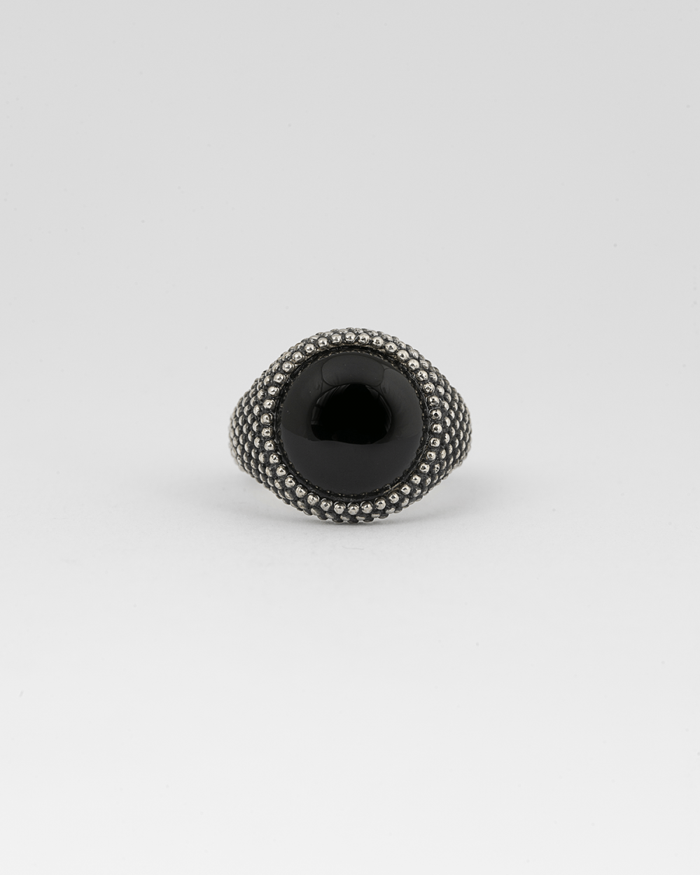 dotted round onyx signet ring