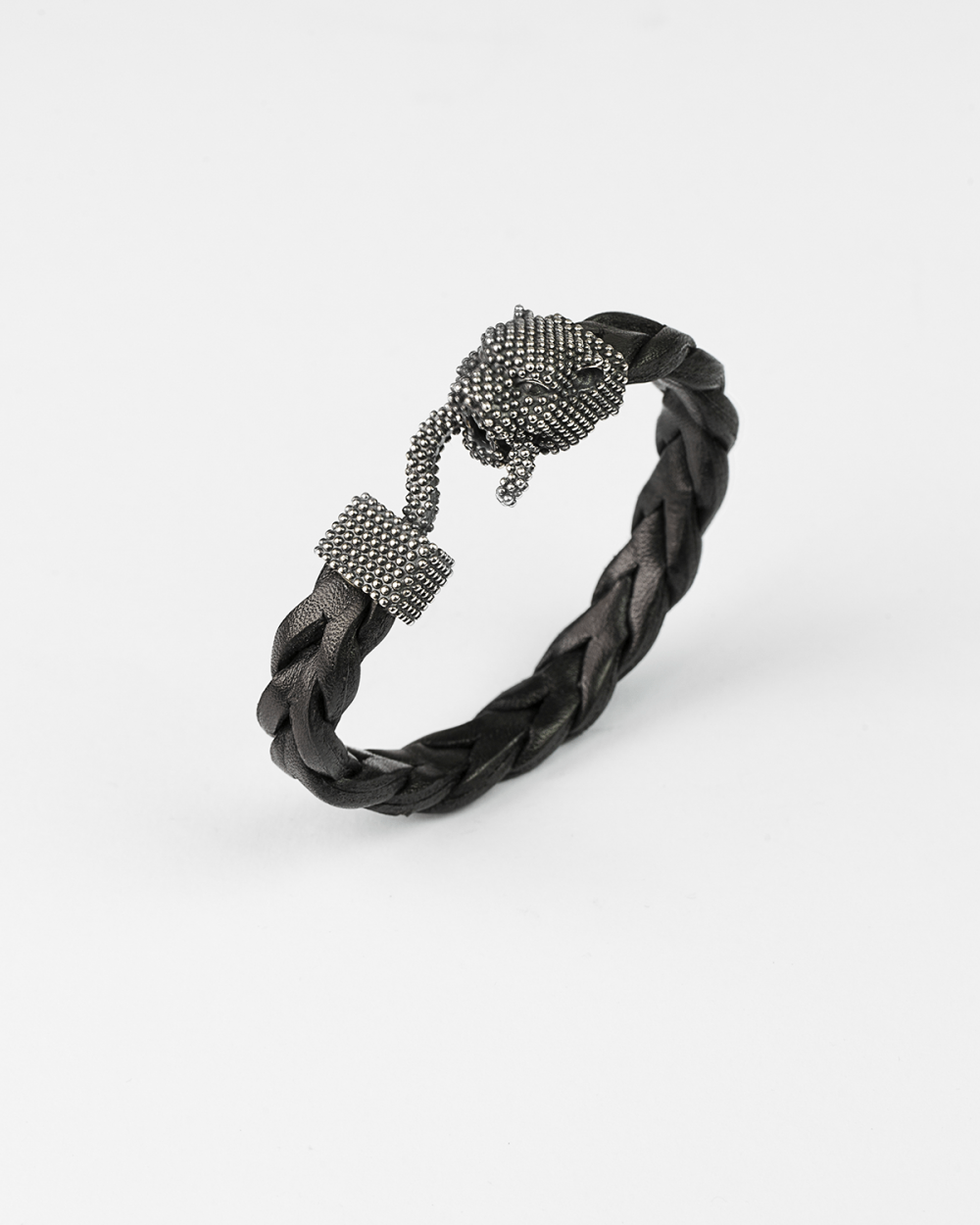 leather dotted panther bracelet