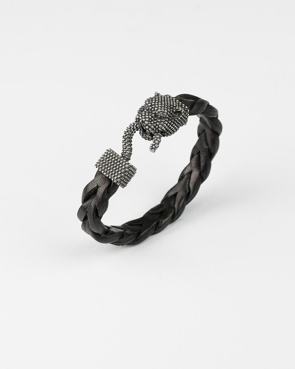 leder gepunktetes panther armband
