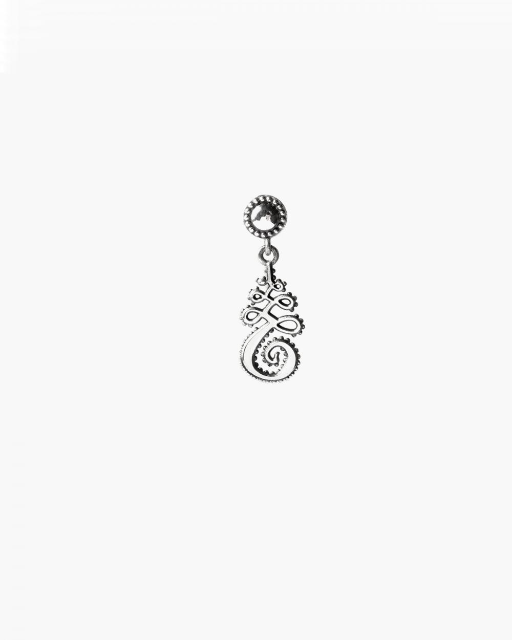 unalome single pendant earring