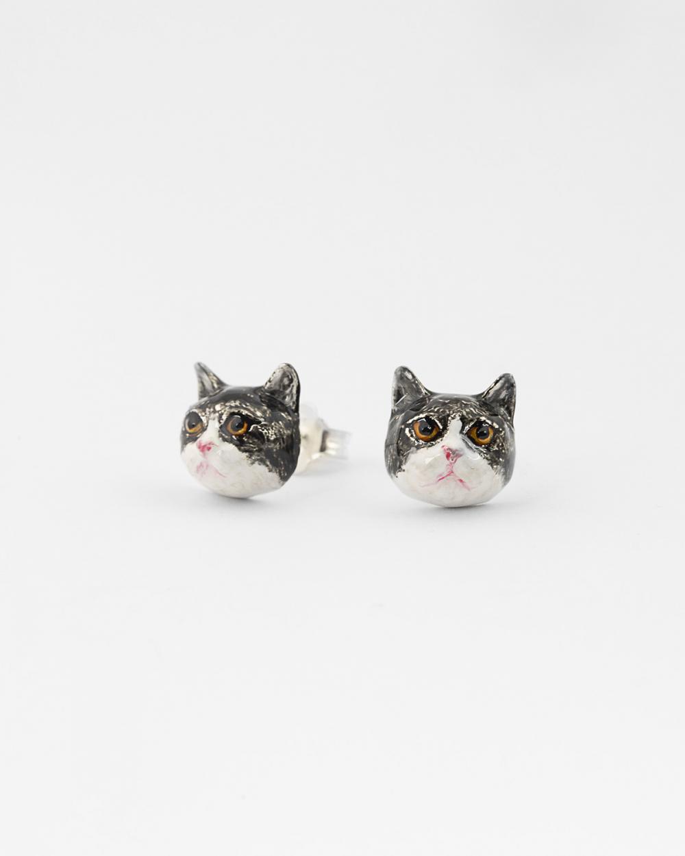 british haircut couple earrings enamelled