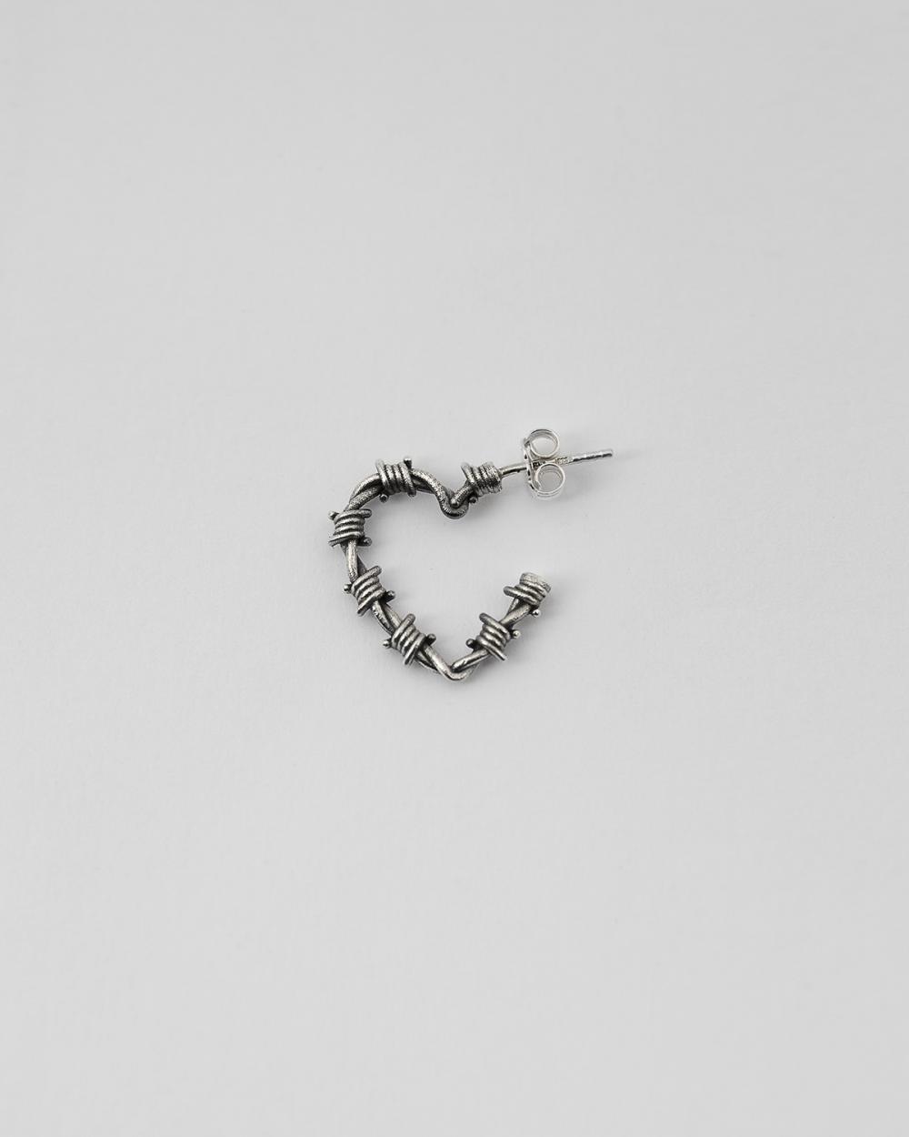 barbed wire heart single earring