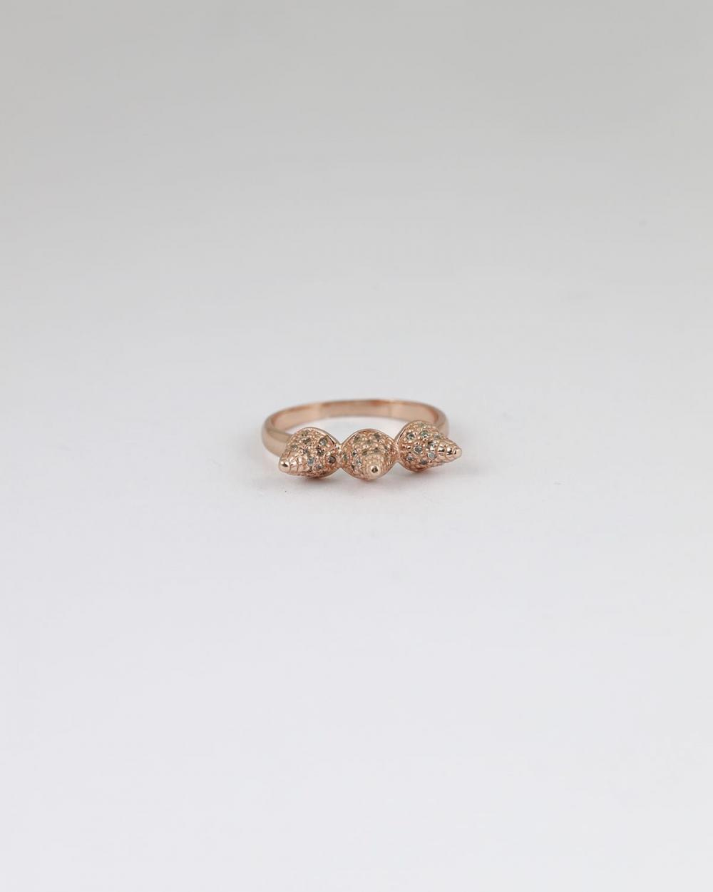 fedina 3 coni con brillanti oro rosa