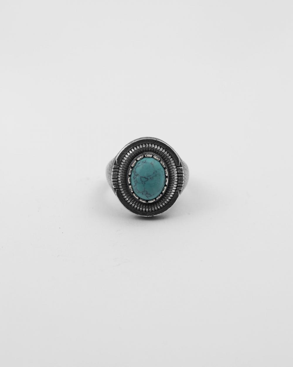 oval turquoise shield signet ring
