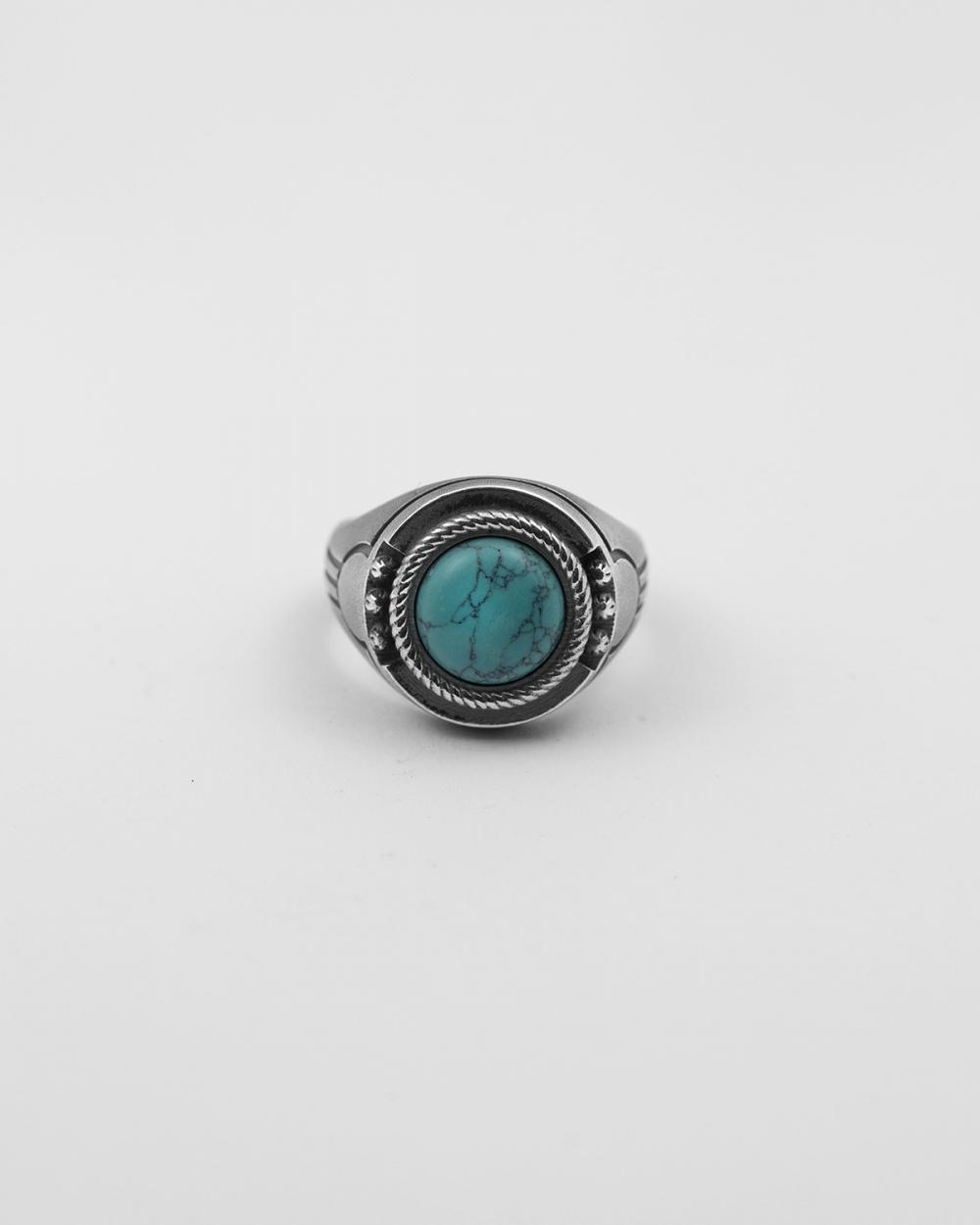 geometric turquoise signet ring
