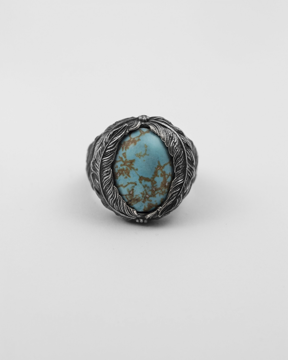 howlite feathers signet ring